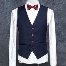 3ba7ddcb5c36e6 Navy Blau Hohe Qualität männer Formale Blazer Westen Slim Fit Business Kleid  Anzug Ärmellose Weste Formale Männer Westen