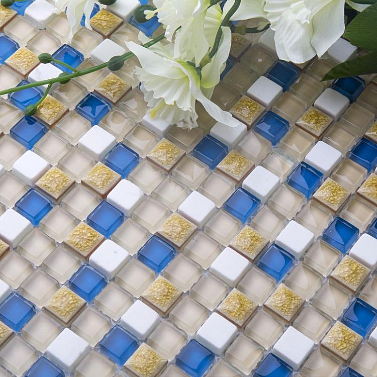 Mediterranean Sea Blue Ceramic Snow White Stone Marble Mosaic Wall