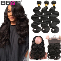 Beyo 360 Lace Frontal With Bundle Brazilian Body Wave Bundles With Closure 2/3 Human Hair Bundles With Closure Non Remy Hair