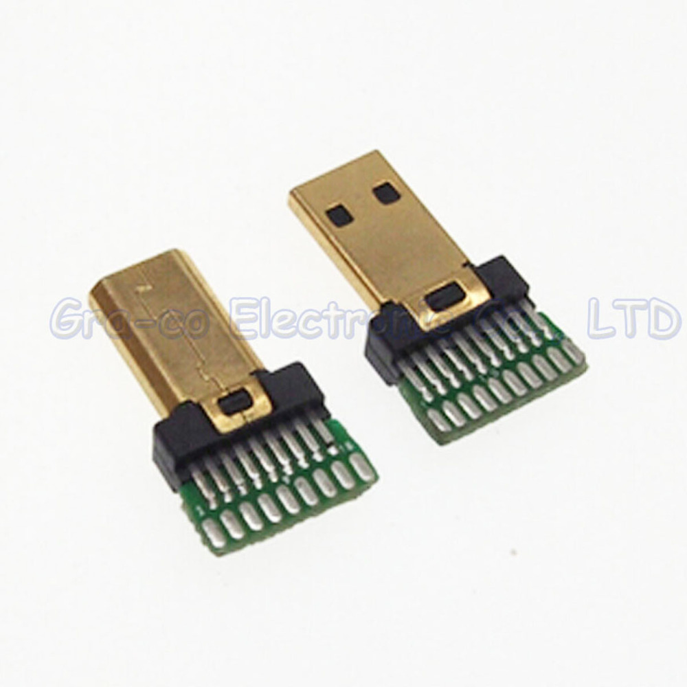 10pcs/lot Gold Plated HDMI Jack D Type Micro HDMI Male Plug with PCB board