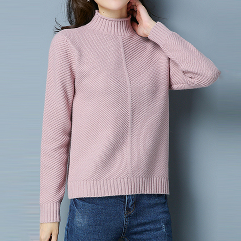 New Arrival Women Casual Pullovers Sweaters 2018 fashion Style women Knitted Sweater Autumn and winter Loose Turtleneck Sweaters