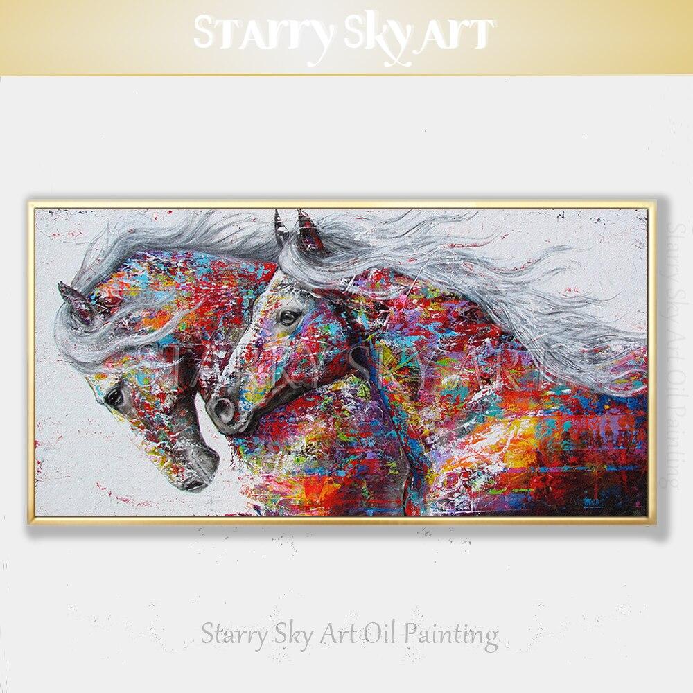 Diseño de Moda pintado a mano 2 caballos pintura al óleo en lienzo colores ricos abstracto Animal caballo pintura al óleo para la pared decoración