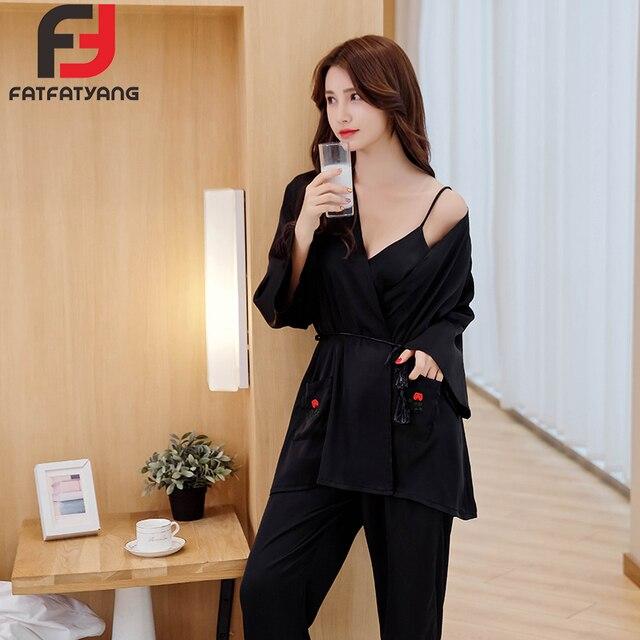 728b9ca963 Women Satin Sleepwear Female Silk Pajama Sets Sexy V-Neck Top Pants 3Pcs  Black Women