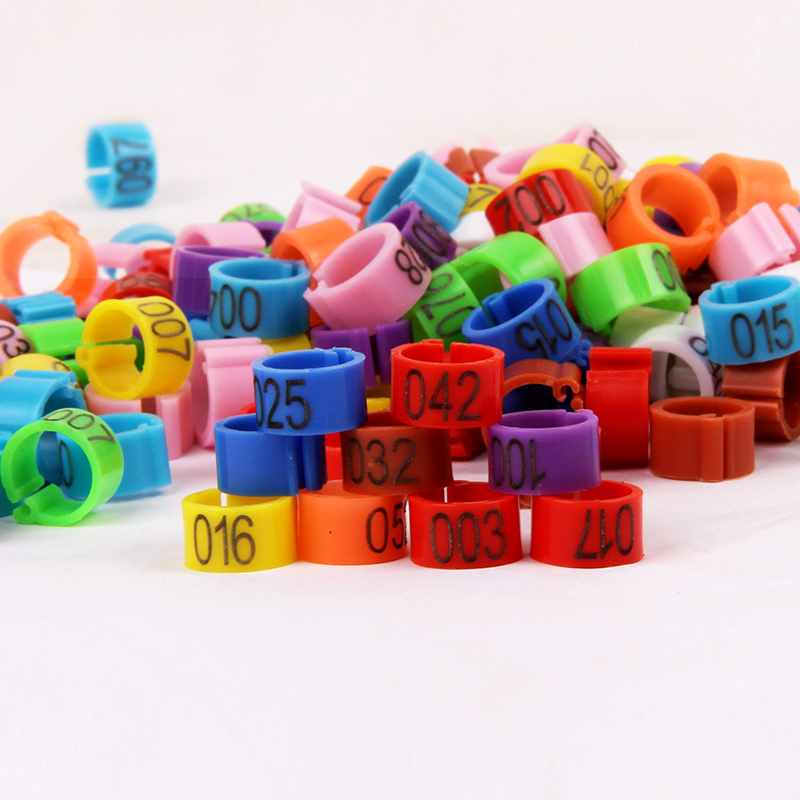 <font><b>1000</b></font> Pcs Bird Clip Ring 8mm Plastic Digital Markup Parrot Pigeons <font><b>10</b></font> Colors Marking Ring No.1-100 Pet Supplies image
