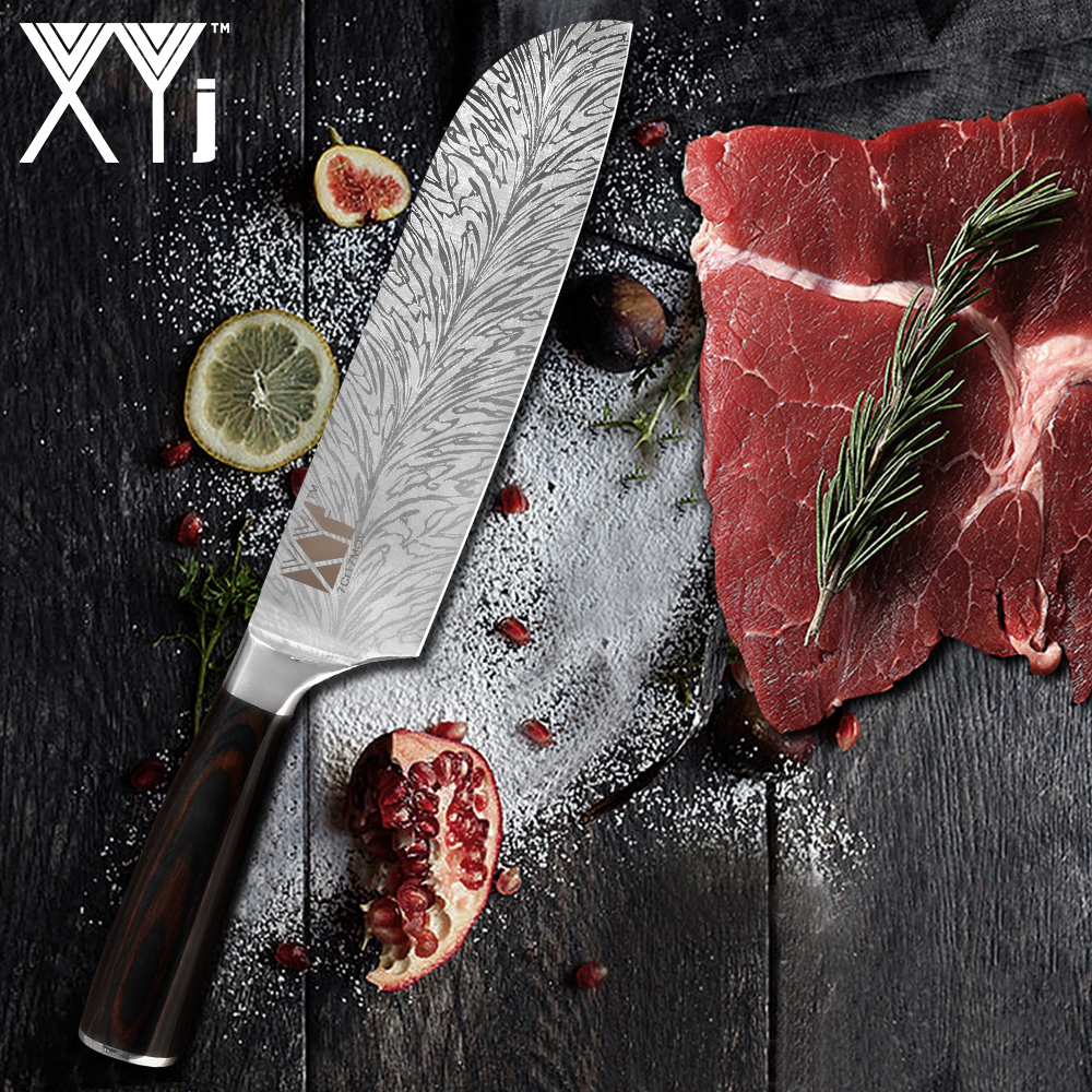 XYj 7 inch Santoku Kitchen Knives Chopping Stainless Steel Knife Nikiri Meat Cleaver Kitchen Tools Accessories Feather Pattern
