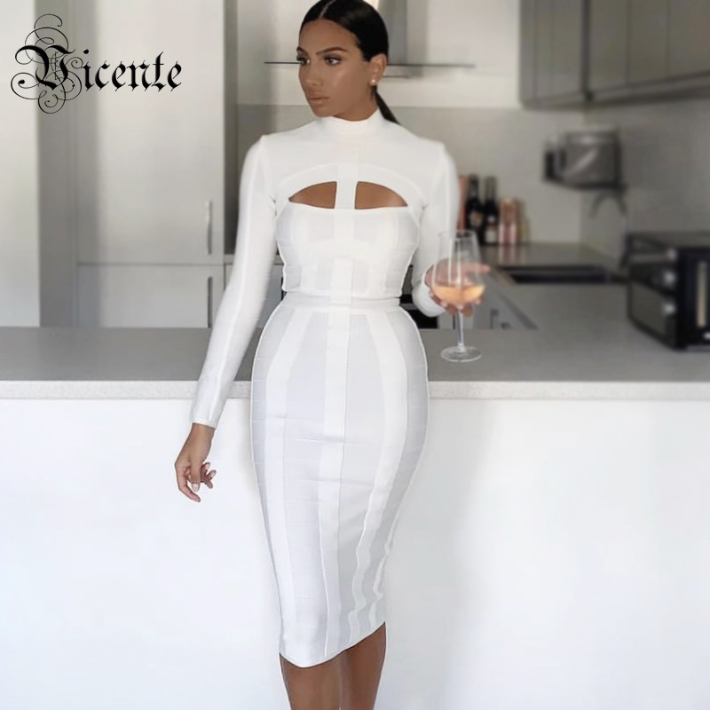 ee42500d4af87 Vicente 2019 New Trendy White Dress Sexy Hollow Out Design Long Sleeves  Celebrity Party Club Bandage Midi Dress