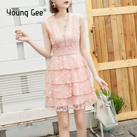 Young Gee Elegant Sexy Lace Floral Embroidery Women Mini Party Dress Pink Summer Sleeveless V neck Slim Cake Dresses Vestidos