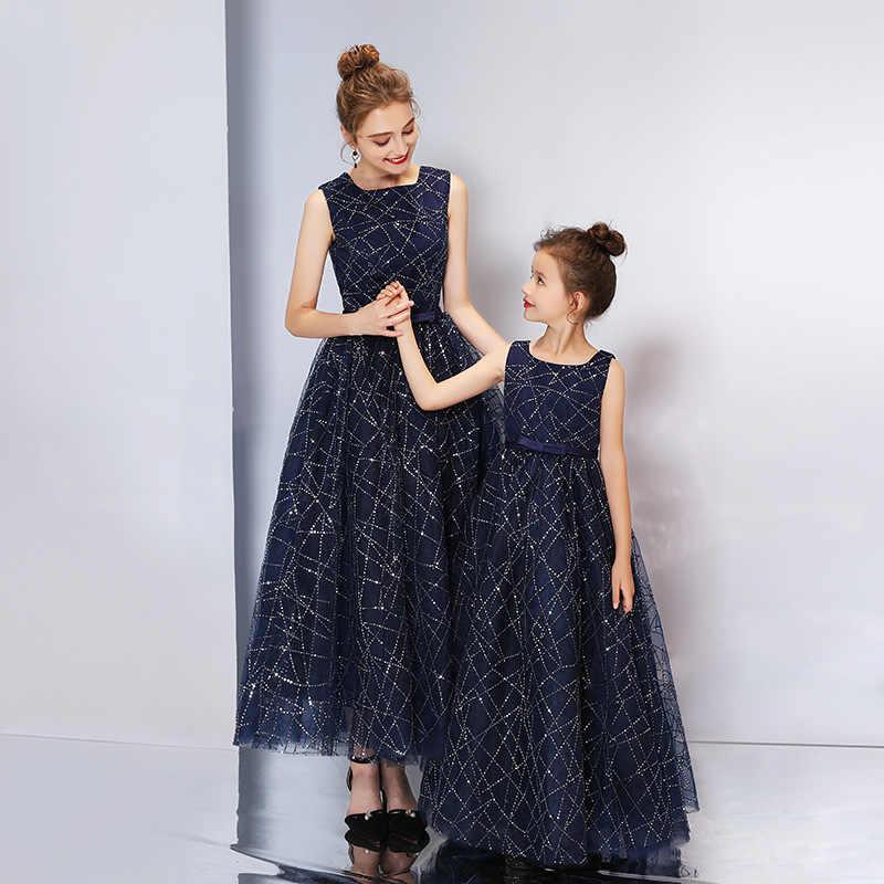 Vestido princesa elegante niños niñas vestido de fiesta de noche y mamá vestidos infantiles para niñas disfraz de flores vestido de novia
