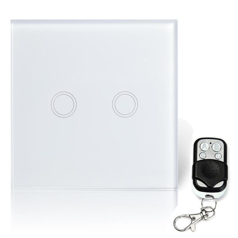 433 MHZ RF 2 Gang Wall Light Smart Switch Crystal Waterproof Tempered Glass Touch Screen Sensor Lights With Remote Control Sets 2017 smart home crystal glass panel wall switch wireless remote light switch us 1 gang wall light touch switch with controller