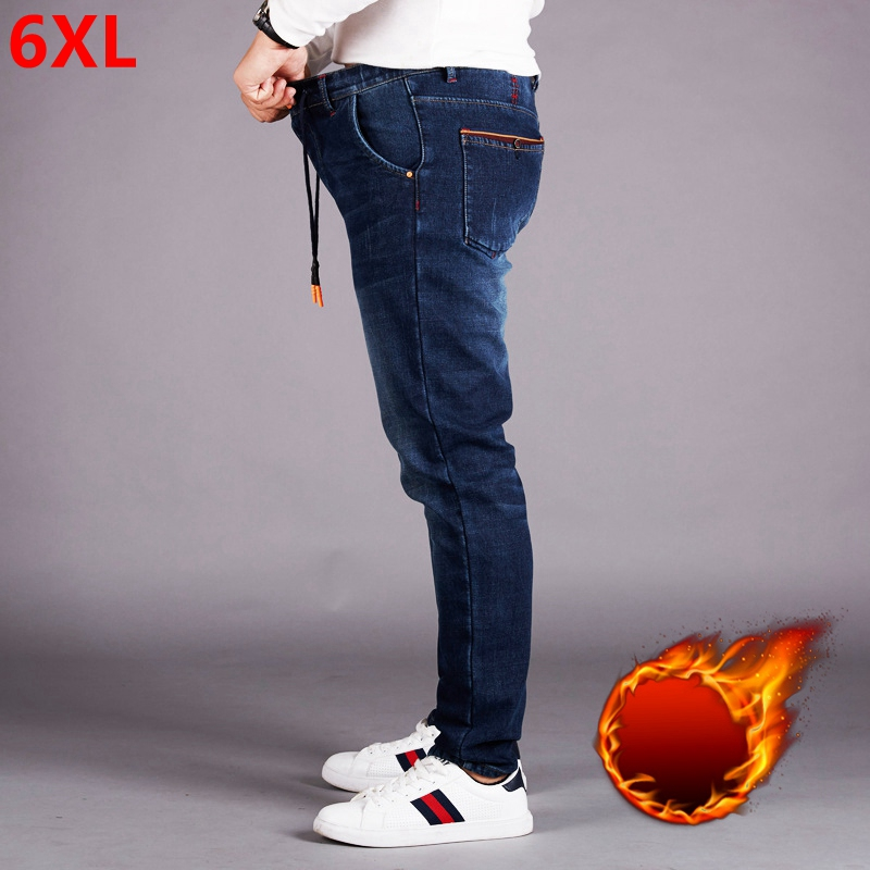 Elastic Waist Jeans Men Plus Fertilizer XL High Waist Elastic Loose Plus Velvet Feet Pants Men's Trousers Trousers Winter