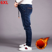 Elastische taille jeans männer plus dünger XL hohe taille elastische lose plus samt füße hosen herren hosen hosen winter