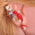 Nueva Moda Rojo Sirena Stud Con Perla Brincos Pequenos Lleno de Cristal Hermosas Bailarinas Aretes Pendientes Puños Del Oído