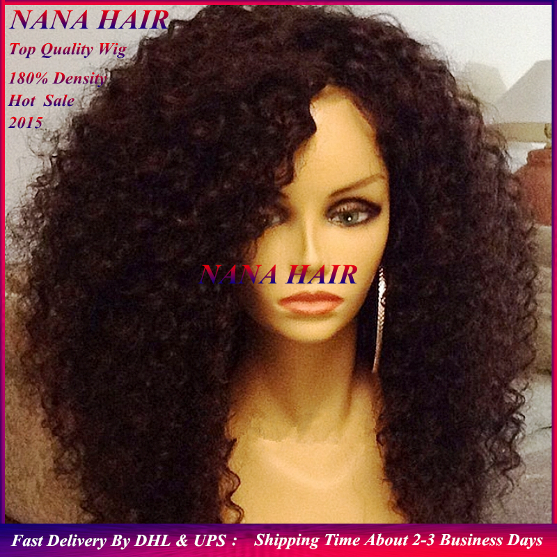 Heat resistant glueless synthetic lace front wig.long afro ...