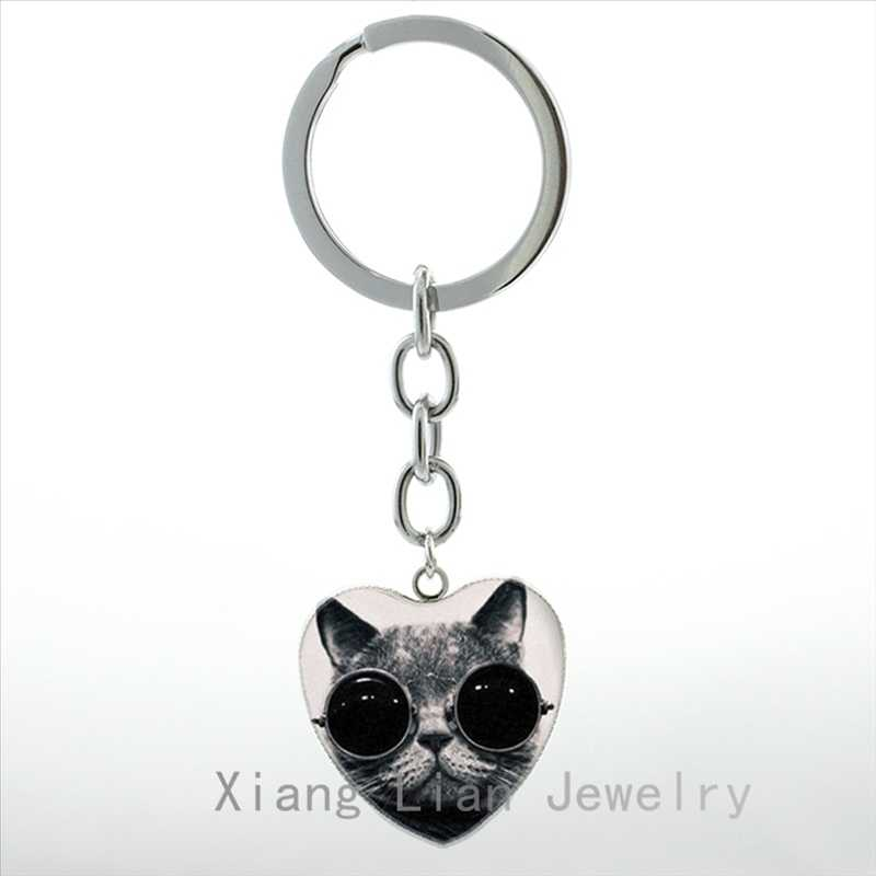 Silhueta Do Gato Preto e Branco do vintage coração Yin Yang Pingente chaveiro Gato Afortunado bonito do anel chave de cadeia para mulheres dos homens jóias HP100
