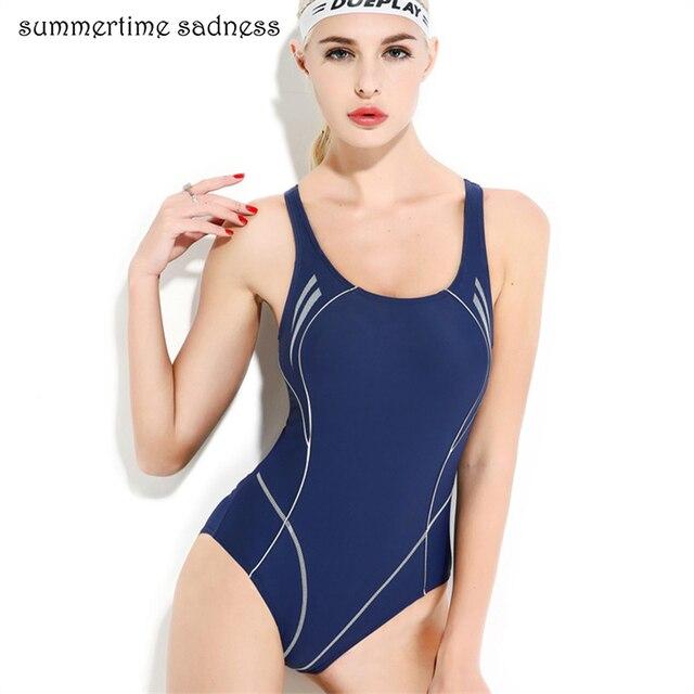 e3518ef308803 New Design Navy Blue Bodysuits Swim Maillot Professional Training One Piece  Swimsuit Bathers Beach Swimwear Women Free Shipping
