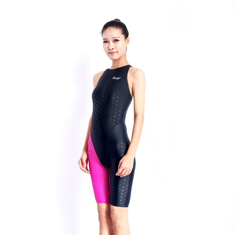HXBY swimwear girls racing swimsuits sharkskin professional swimsuits knee one piece competition swim suits one piece 18