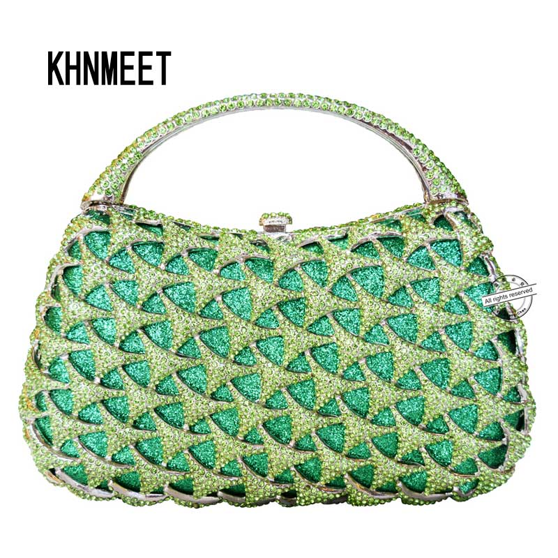 New crystal clutch evening bags with fixed metal handle ladies luxury diamante handcraft women clutch party purse Female bag 197