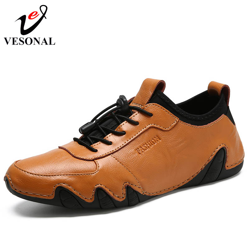 VESONAL Genuine Leather Fashion Casual Male Shoes Adult For Men Sneakers Octopus Classic Quality Walking Driving Footwear 6888