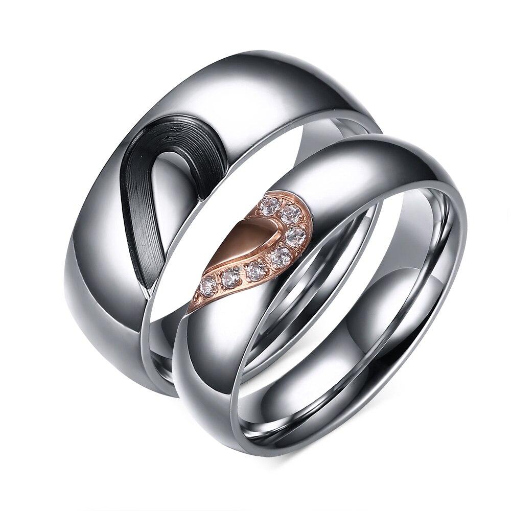 2017 Fashion Titanium Steel Inlaid Zircon 2 Colors Love Heart Puzzle Design  For Couple Rings Wedding