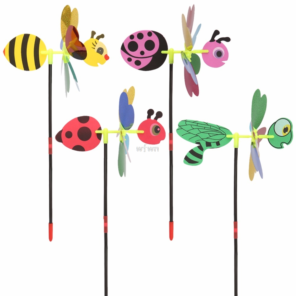 Toy Bee-Windmill Yard-Decoration Wind-Spinner Sequins Garden Animal Kids 3D MAY07 Home