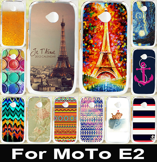 Soft TPU Hard Plastic DIY Printed Mobile Phone Case For Motorola Moto E2 E 2nd Gen Cover E+1 XT1527 XT1511 Hood Eiffel Anchor