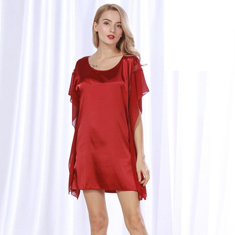 Wine red Summer New Women Loose bat sleeve Night Dress Female Dreamlike Round Neck Short   Nightgown   Vestido   Sleepshirts