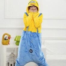 Hot Fashion Minions Cartoon Design Cosplay Pajamas Kids Boys Girls Flannel Sleepers Female Male Pijamas pyjamas Hooded Style