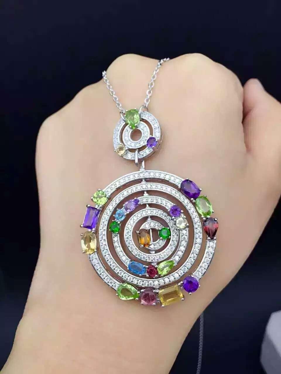 Multicolore naturel améthyste péridot pendentif S925 grenat Naturel en argent Pendentif Collier à la mode De Luxe rond femmes bijoux