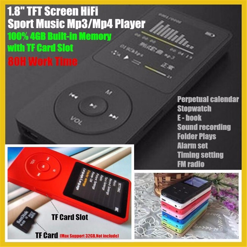 1 8 TFT Screen 100 4GB HiFi Sport Music Mp3 Player with TF SD Card Slot