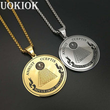 Hip Hop All Seeing Eye of Providence Pendant Necklace For Men/Women Gold Color Stainless Steel Coin Necklaces Masonic Jewelry(China)