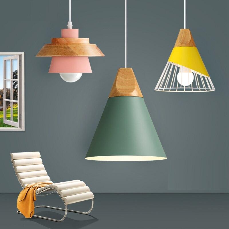 Suspension moderne bois Suspension lampe nordique lumière pour café Restaurant chambre Hanglamp cuisine coloré Suspension Luminaire