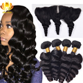 13x4 Ear To Ear Lace Frontal Closure With Bundles 8A Brazilian Virgin Hair Loose Wave With Closure 3 Bundles Lace Frontal Weave