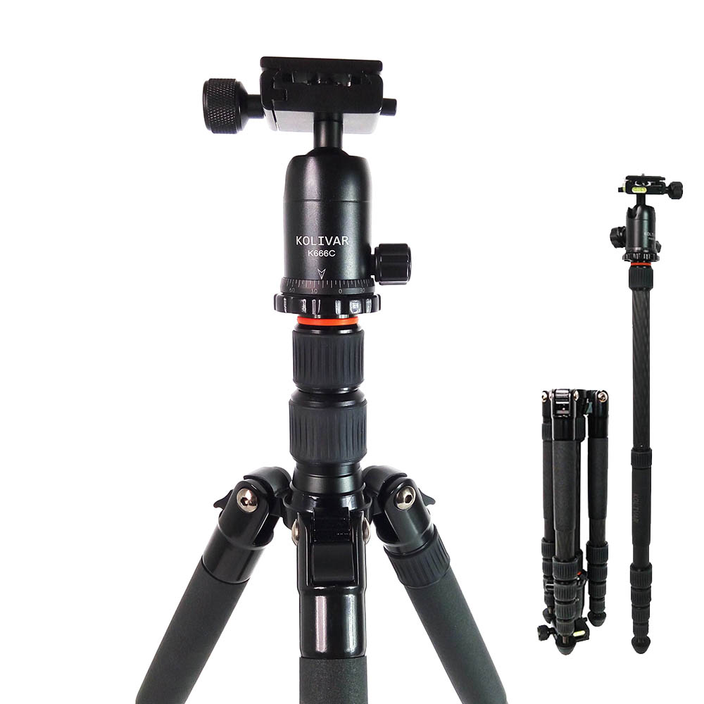 Kolivar K666C Professional Compact Travel Carbon Fiber Camera Tripod With Ball Head For DSLR SLR Camera Stand Better than Q666C ashanks a25c professional loading 10kg carbon fiber portable camera tripod with ball head and carry bag better than q666c