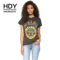 HDY Haoduoyi 2019 New Casual Fashion Tees College Style Hole Distressed Comfortable Gun Rose Band Print Female Summer T Shirts