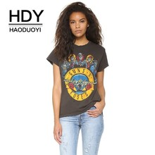 HDY Haoduoyi New Casual Couple Tees College Style Hole Distressed Harajuku  Gun Rose Band Print Female Summer T shirts
