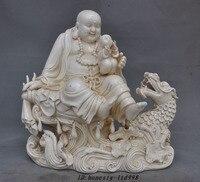Ремесла статуя Старый Китай Дэхуа Белый Фарфор Дракон Денежный Мешок Майтрейя Статуя Будды скульптура
