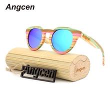 Angcen 2017 Wood Men polarized mirror frame eyeglasses women brand designer oculos Bamboo glasses cat eye female Sunglasses