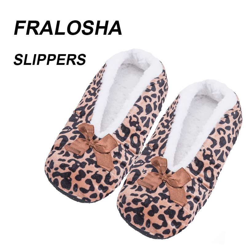 (Ship from US)FRALOSHA Women Leopard indoor shoes home Non-slip Floor slippers Soft Household warm Plush slippers цена