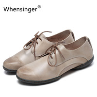 Whensinger 2018 Woman Shoes Handmade Genuine Leather Solid Lace Up Vintage Style D1509 (S1)