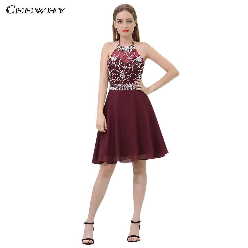 CEEWHY Open Back Burgundy Chiffon Dress Elegant Crystal Cocktail Dresses Beaded Graduation Homecoming Dresses Short Formal Dress