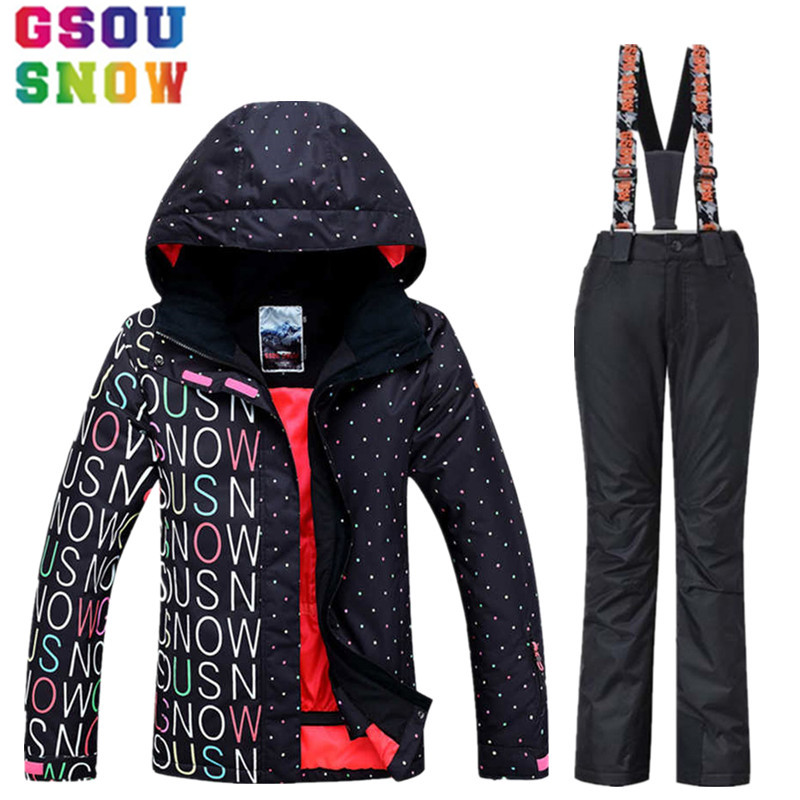 GSOU SNOW Brand Waterproof Ski Suit Women Ski Jacket Pants Winter Snowboard Jacket Pants Mountain Skiing Suit Women Snow Clothes 2017 new women snow ski suit windproof waterproof breathable women s snowboard colorful clothes winter ski jacket and pants