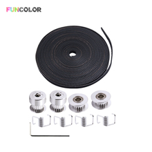 Funcolor 5m 6mm GT2 Belt+2PCS 20 Teeth 5mm Timing Pulley+2PCS Idler Pulley+4PCS Torsion Spring+1PC 2mm Wrench for 3D Printer Kit