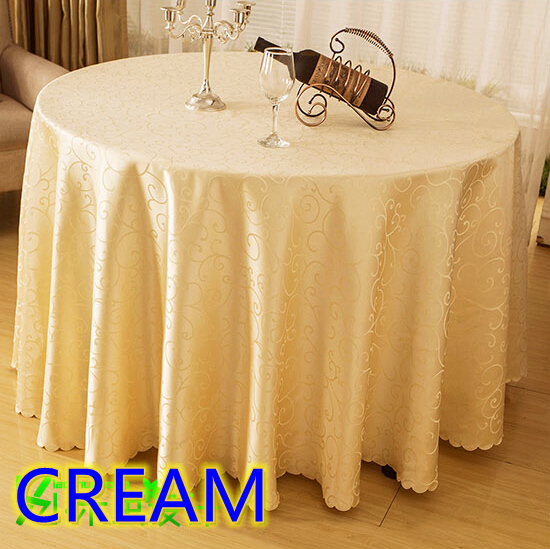 Cream Colour Jacquard Round Wedding Table Linens Damask Pattern Table Cover  For Wedding Round Tables Decoration Wholesale In Tablecloths From Home U0026  Garden ...