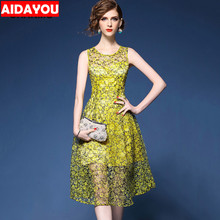Women Dress Lace Sleeveless Regular O-Neck dress for Party Dinner Vintage work ouc520