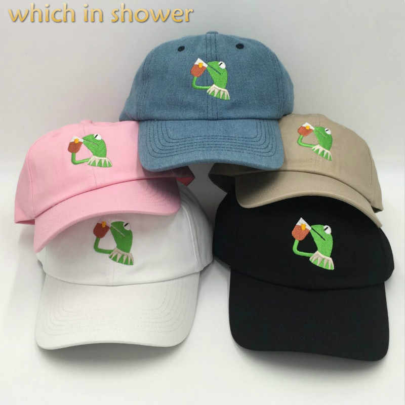 7a5751f744721 which in shower embroidery frog slipping tea baseball cap unstructured  KERMIT dad hat male female hip