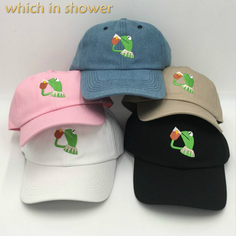 which in shower embroidery frog slipping tea   baseball     cap   unstructured KERMIT dad hat male female hip hop summer snapback hat