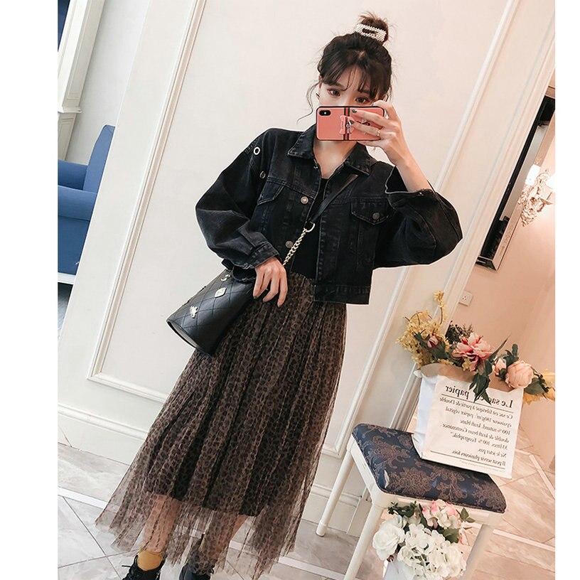 Women Spring Denim Jacket And Black Sundress Suits 2pcs Dress Set Woman Denim Coat And Dress Twinset Suit Sets Ensemble Femme Women's Clothing