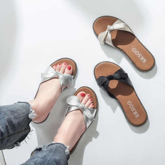1b5746aeab2d New 2019 Women Beach Sandals Fashion Butterfly Knot Slippers Summer Women  Flat Shoes Woman Flat Sandals Flip Flop Zapatos Mujer