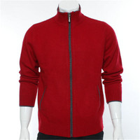 new fashion 100%goat cashmere thick knit men zipper cardigan sweater turtleneck red 2color S 2XL