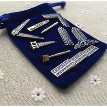 9 Different Small Size Classic Masonic Working Tools Miniature Freemason Gifts Fine Craft Work for Masons with Cloth Bag
